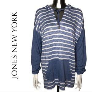Jones New York Knit Striped Hoodie Size XL